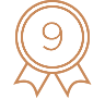 Award badge with the number 9 inside