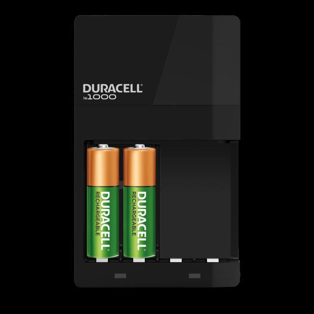 Black recharging unit holding 2 batteries
