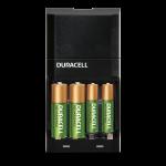 Black recharging unit holding 4 batteries