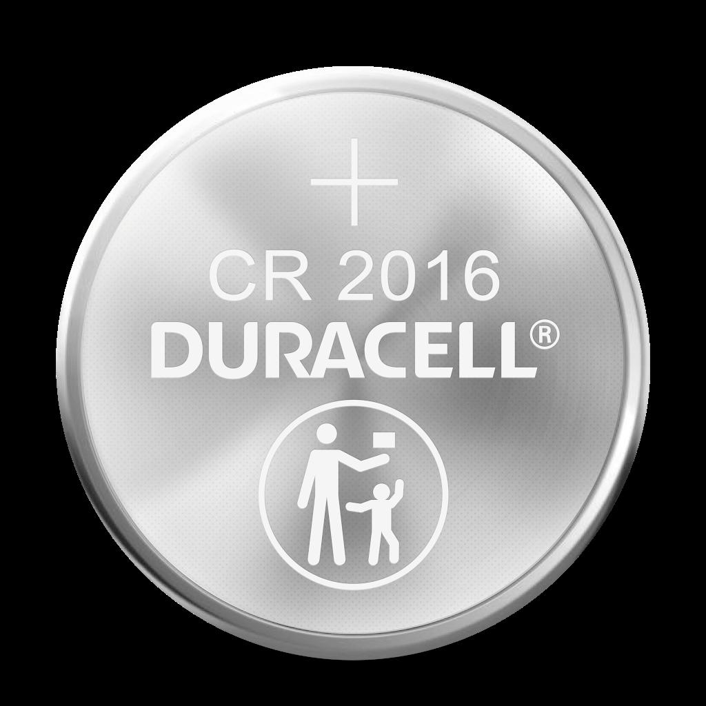 Pila de moneda de litio con CR 2016 grabado en la superficie